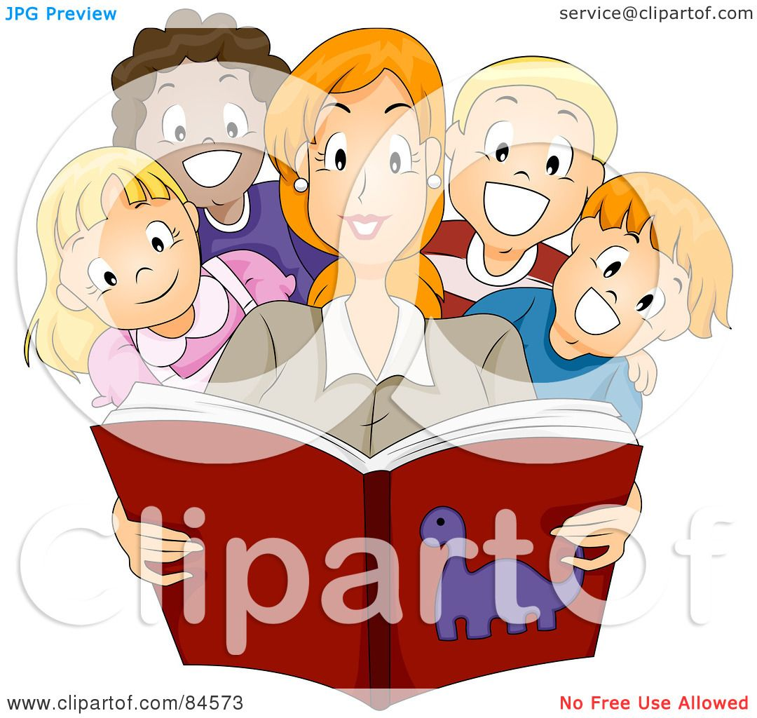 royalty-free (rf) clipart illustration of a pretty teacher reading a