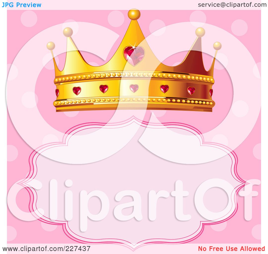 royalty free rf clipart illustration of a princess crown over a frame on polka dot pink by pushkin