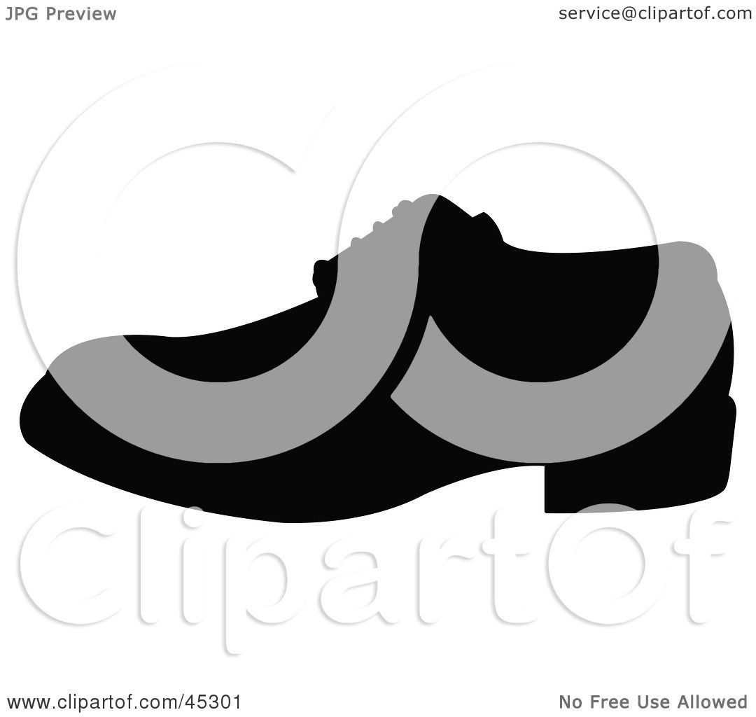 RF) Clipart Illustration of a Profiled Black Shoe Silhouette by JR