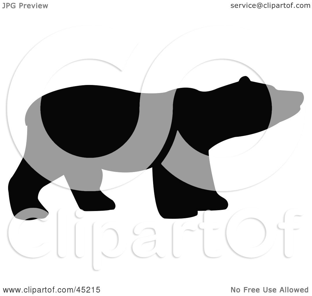 Royalty-free (RF) Clipart Illustration of a Profiled Black Sniffing Bear Silhouette by ...