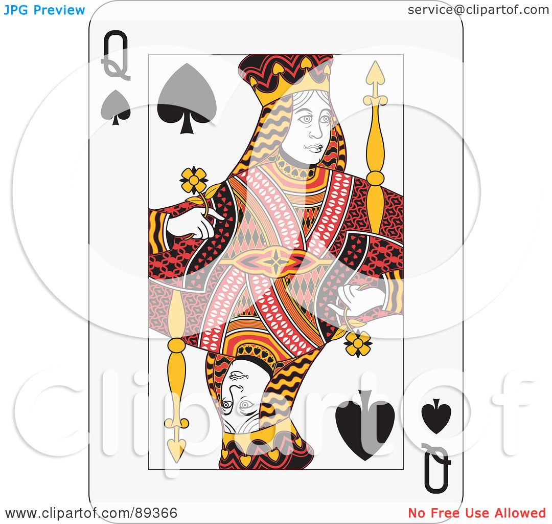 Royalty Free RF Clipart Illustration Of A Queen Spades Playing Card Design By Frisko