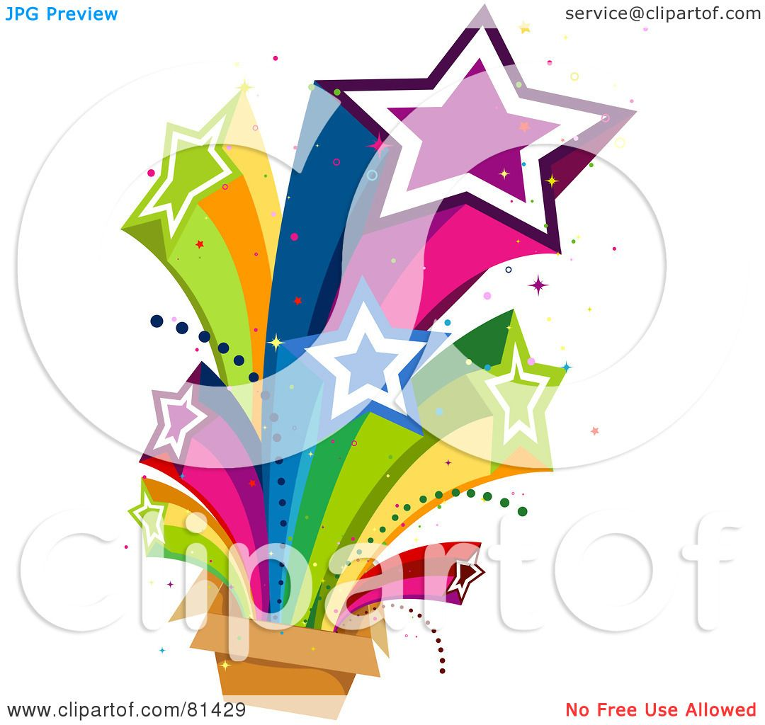 rainbow shooting stars clipart box illustration royalty clip rf bnp studio background without