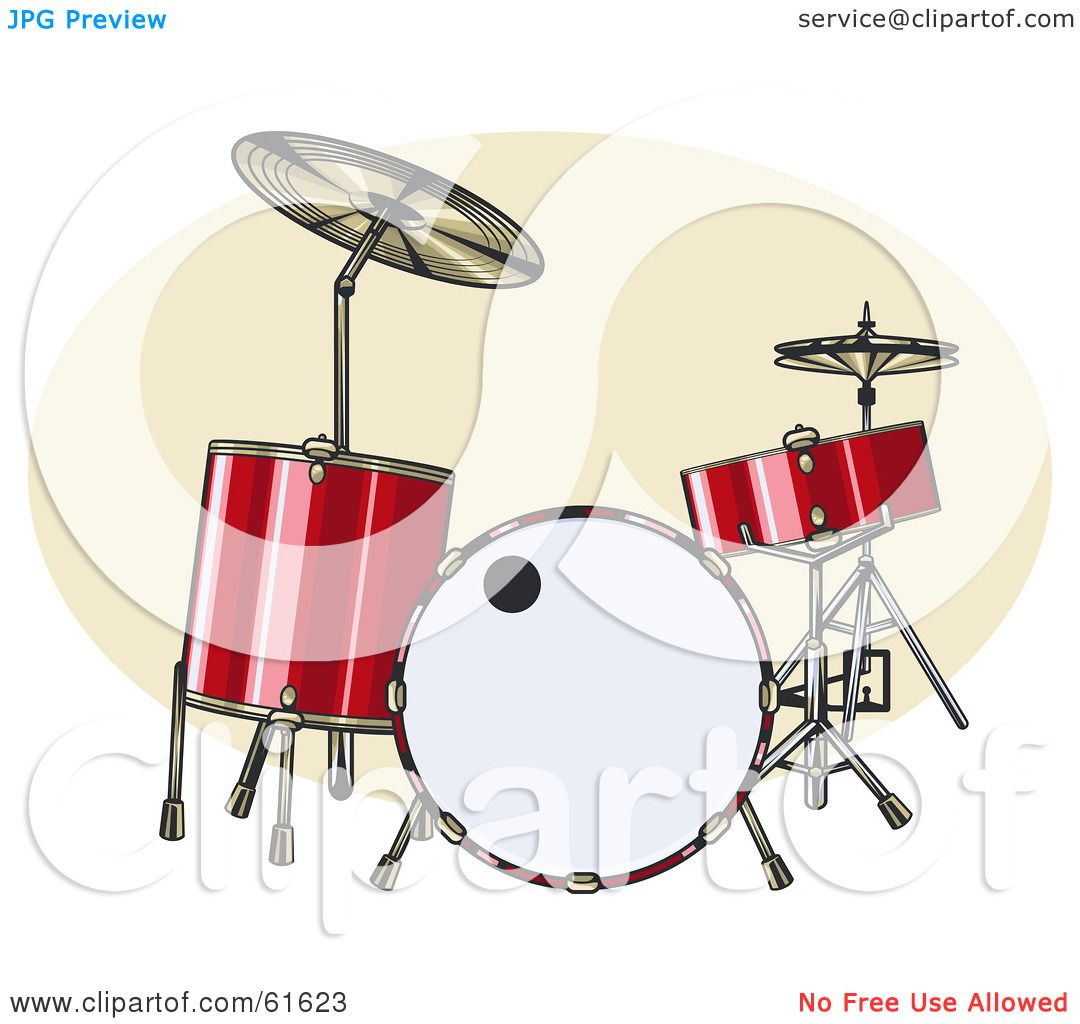 Red Drum Set Clipart Red Acoustic Drum Set by r