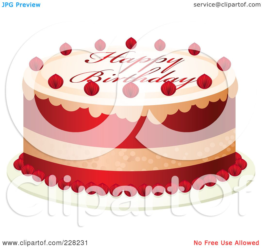 Royalty-Free (RF) Clipart Illustration Of A Red And White Cake With Happy Birthday Text By Tonis