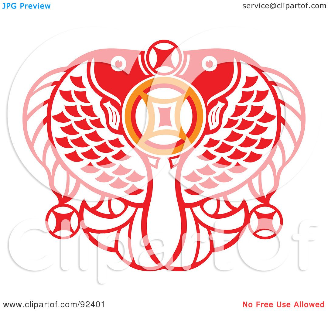 Royalty-Free (RF) Clipart Illustration of a Red Chinese Double Fish ...