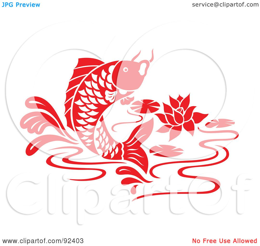 Royalty-Free (RF) Clipart Illustration of a Red Chinese Styled Koi ...