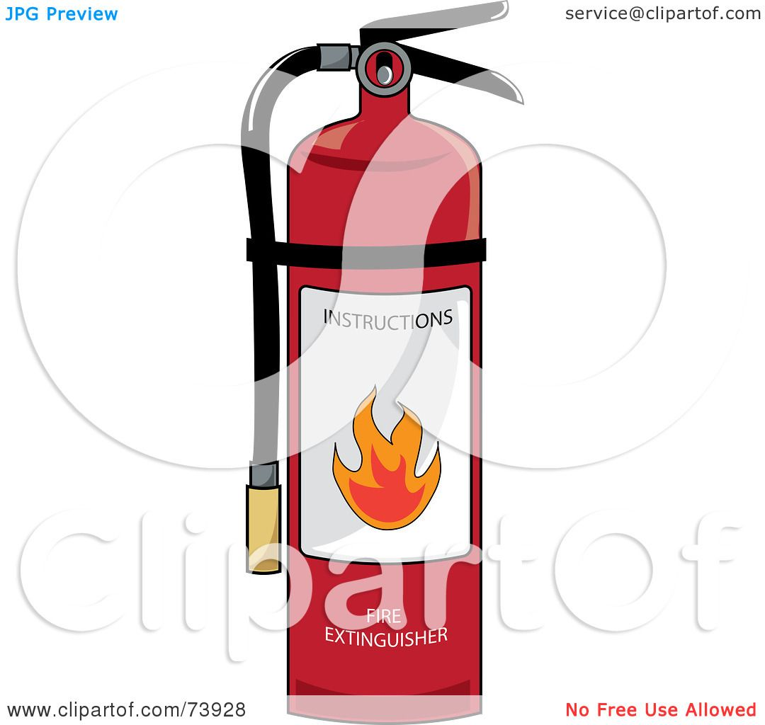 Royalty-Free (RF) Clipart Illustration of a Red Fire Extinguisher ...