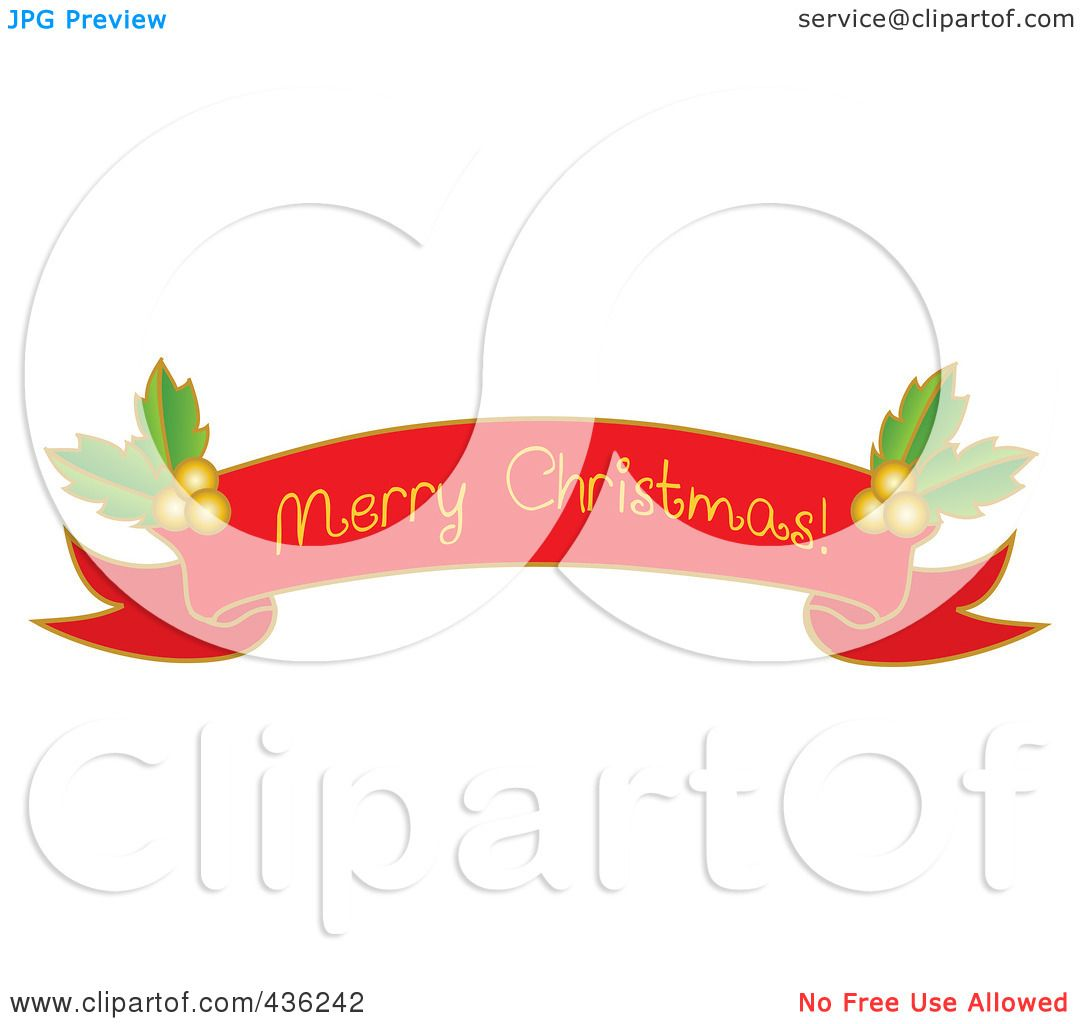 Merry Christmas Ribbon Clipart.Royalty Free Rf Clipart Illustration Of A Red Merry