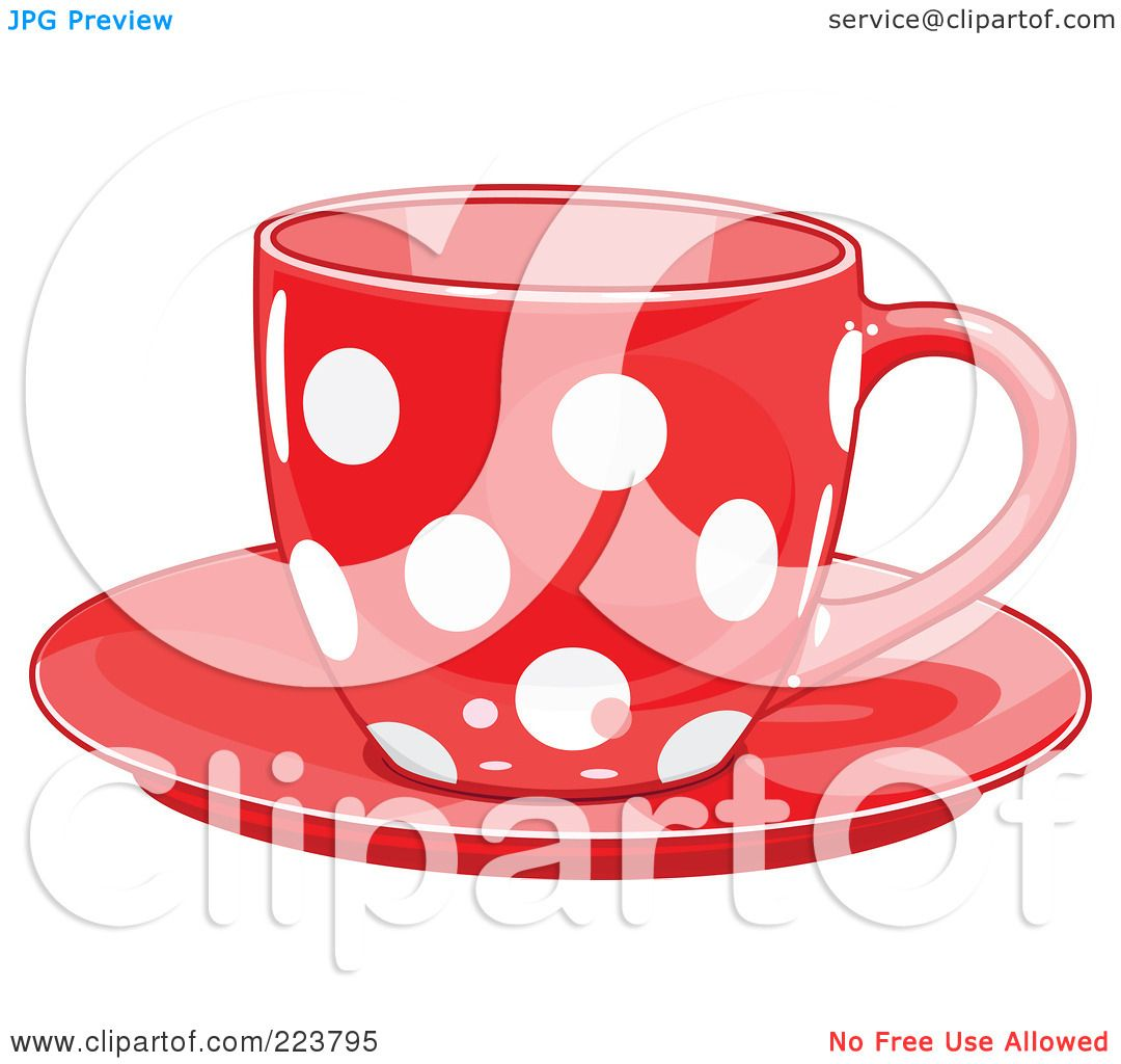 Larger preview vector clip art of a happy yellow coffee cup character - Royalty Free Rf Clipart Illustration Of A Red Polka Dot Tea Or Coffee Cup On A Preview Clipart