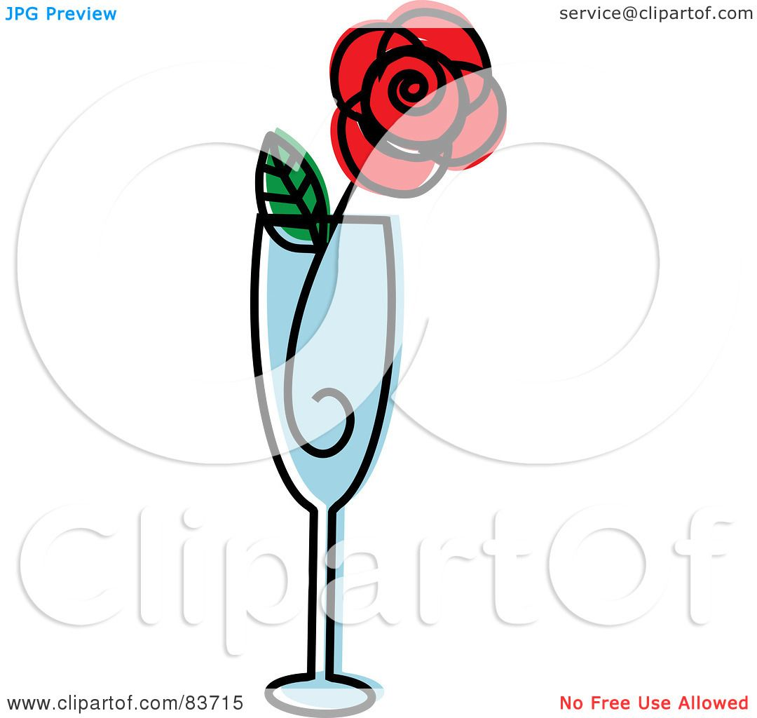 royalty free rf clipart illustration of a red rose in a champagne rh clipartof com
