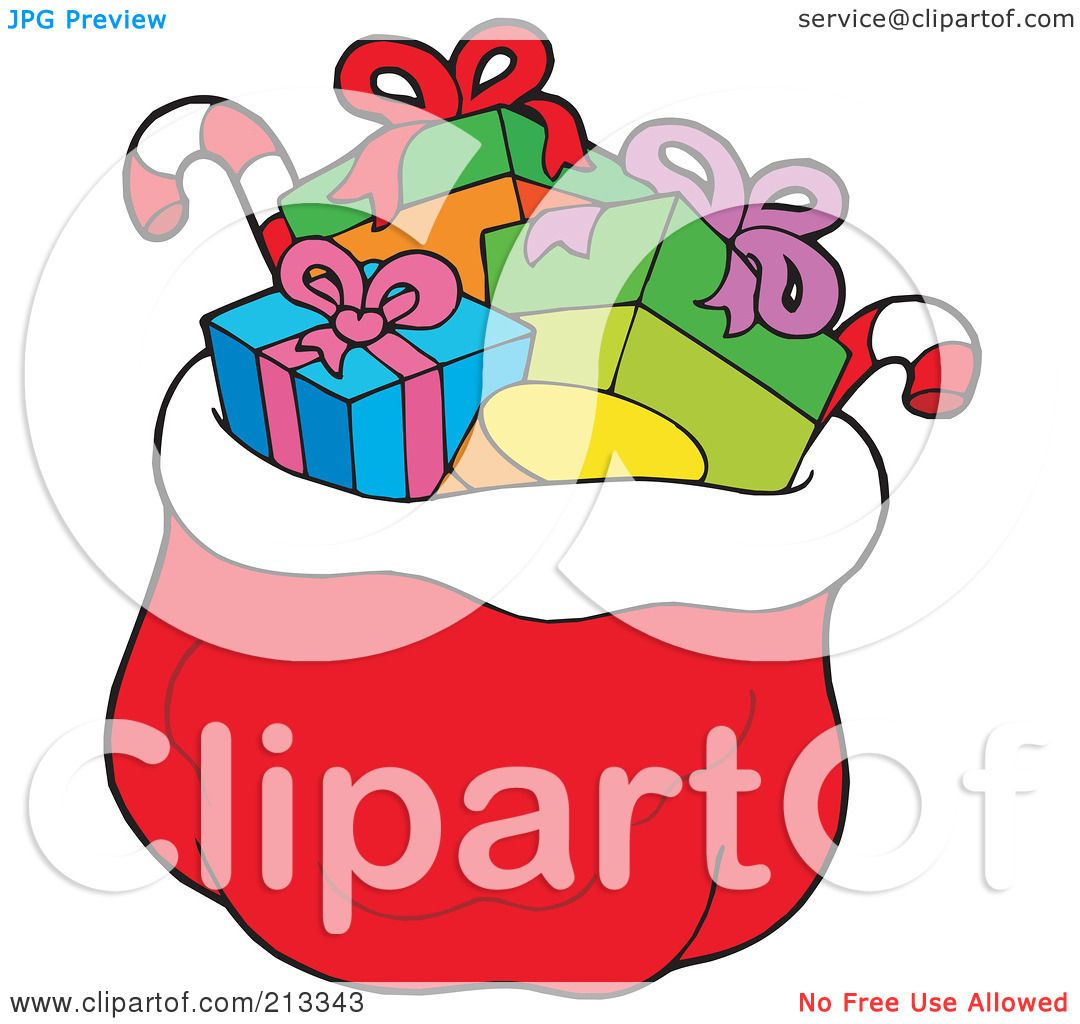 Bag Of Toys : Royalty free rf clipart illustration of a red santa sack