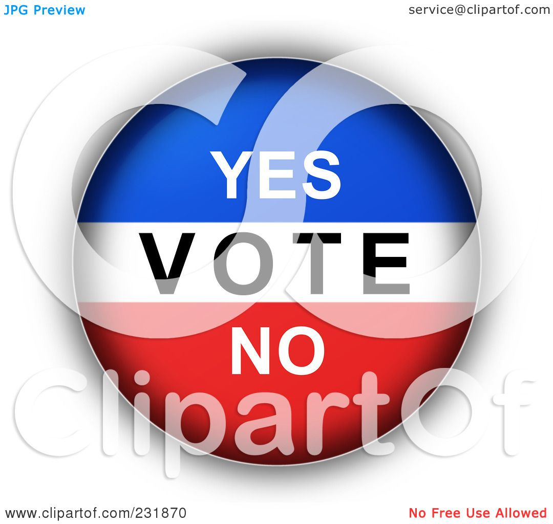 RoyaltyFree RF Clipart Illustration of a Red White And Blue YES VOTE NO Button by oboy 231870