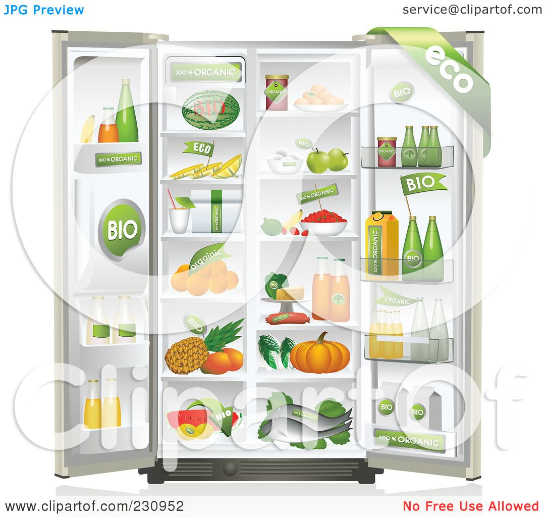 Royalty-Free (RF) Clipart Illustration of a Refrigerator ...