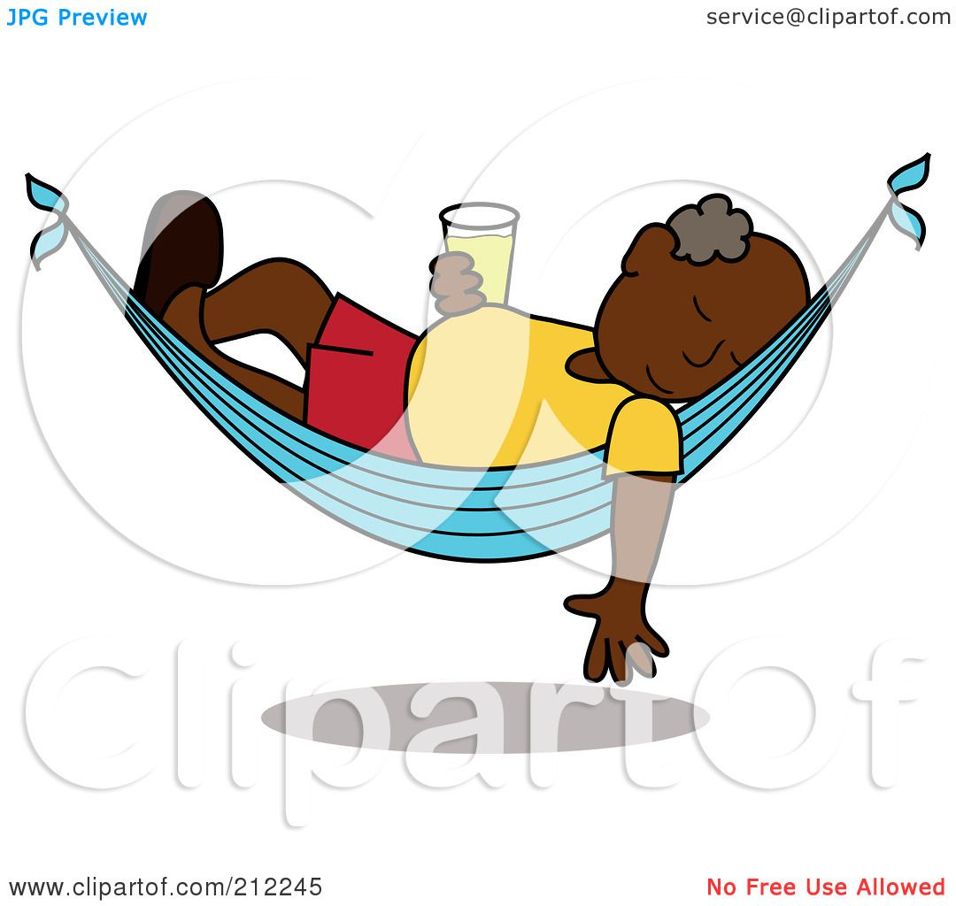 Royalty Free RF Clipart Illustration Of A Relaxed Black Senior Man With Beer Sleeping In Hammock By Pams