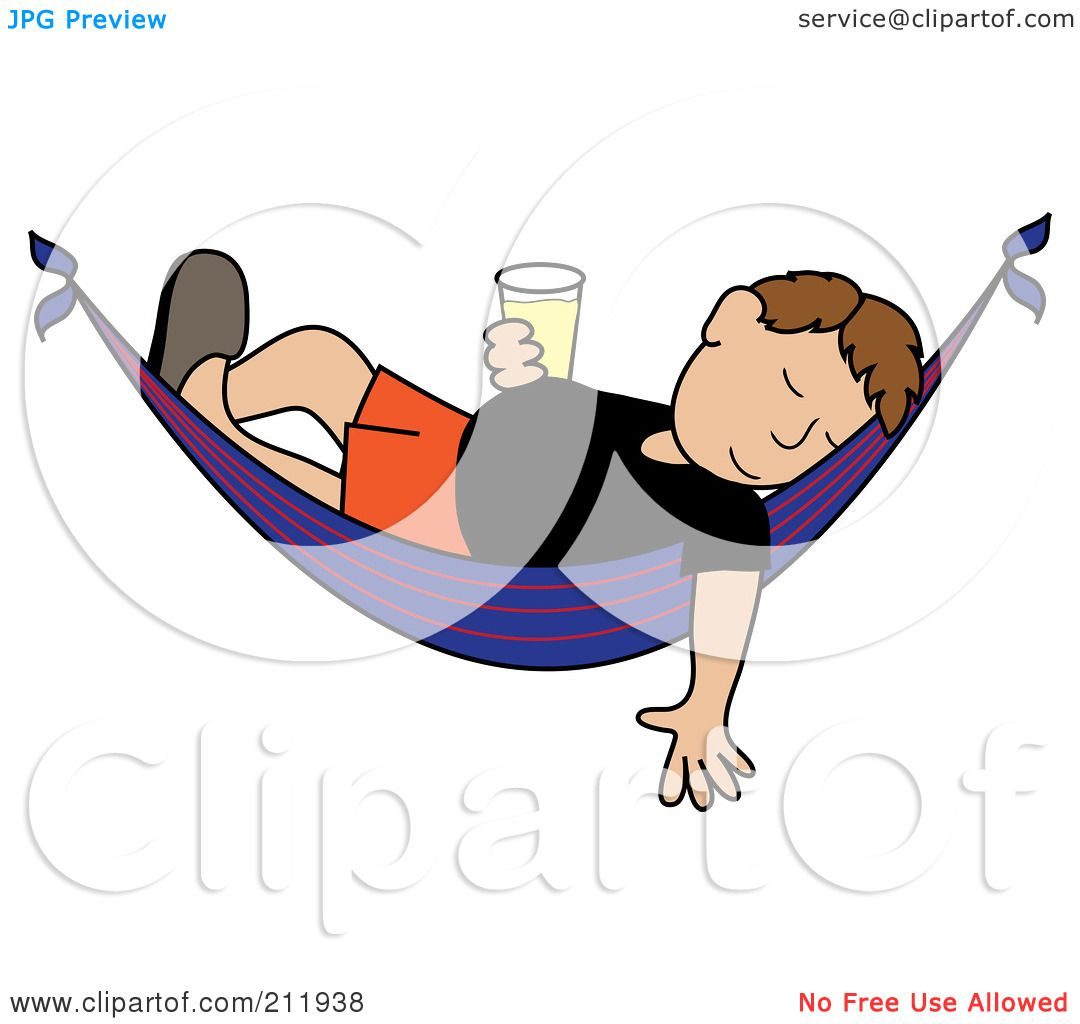 Royalty Free RF Clipart Illustration Of A Relaxed Brunette Caucasian Man With Beer Sleeping In Hammock By Pams