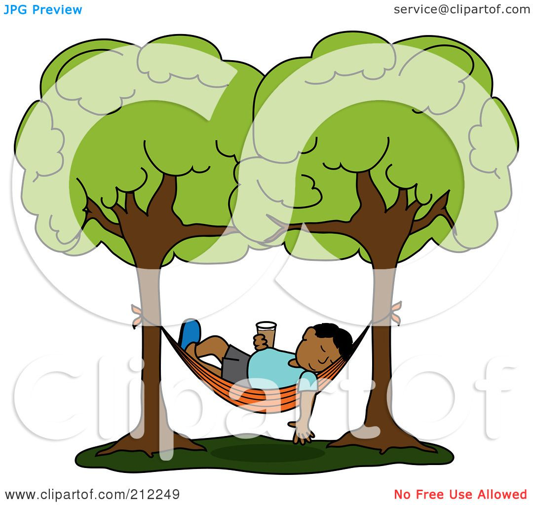 Royalty Free RF Clipart Illustration Of A Relaxed Hispanic Man With Beverage Sleeping In Hammock Between Two Trees By Pams