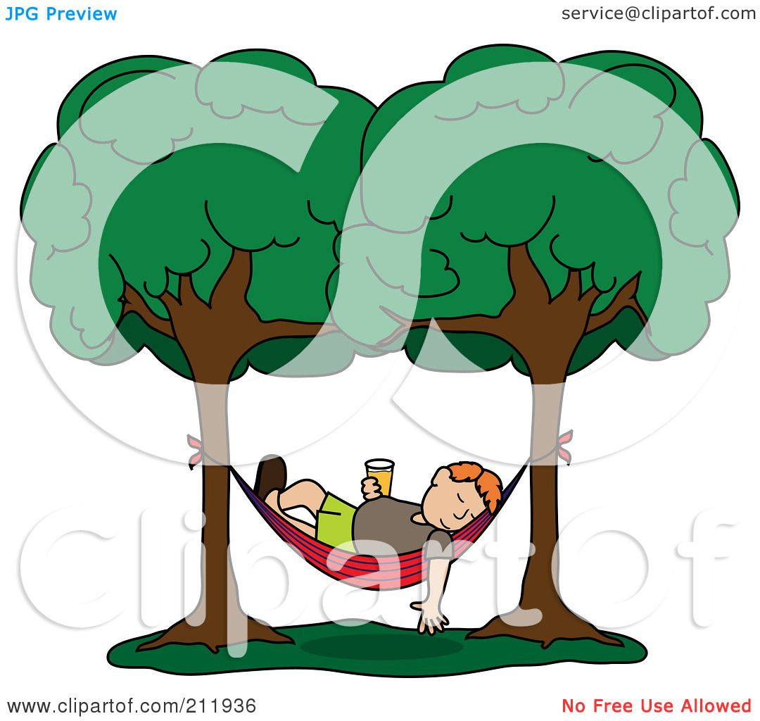 Royalty Free RF Clipart Illustration Of A Relaxed Red Haired Man With Beverage Sleeping In Hammock Between Two Trees By Pams