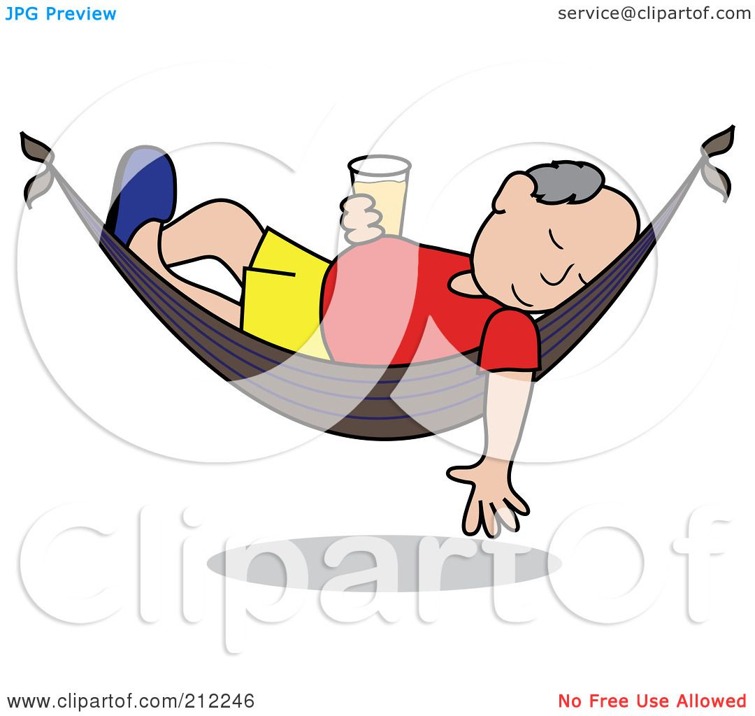 Royalty Free RF Clipart Illustration Of A Relaxed Senior Caucasian Man With Beer Sleeping In Hammock By Pams