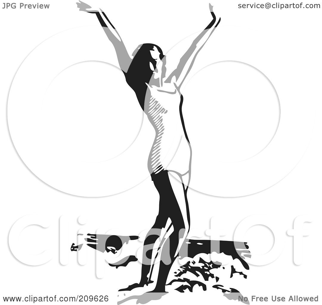 Woman Clipart Black And White Standing