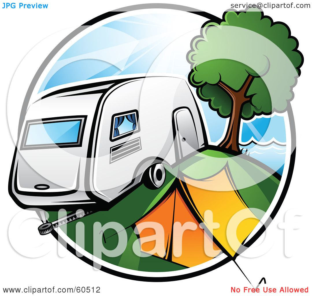 royalty free rf clipart illustration of a retro camper parked by a rh clipartof com