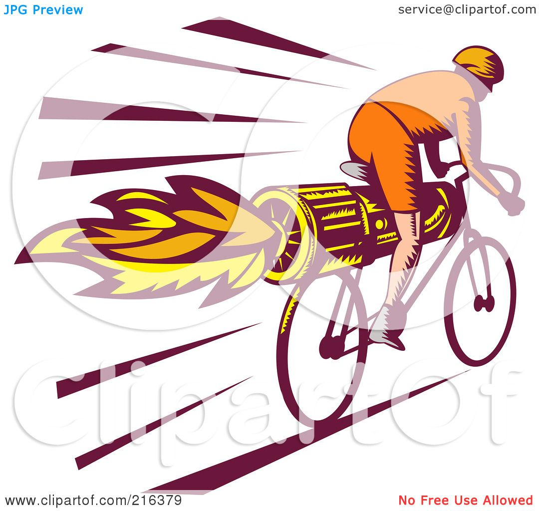Royalty-Free (RF) Clipart Illustration of a Retro Cyclist Riding A ...