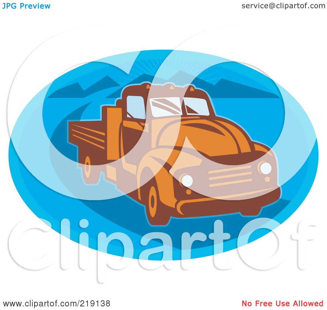Green truck clipart royalty free rf pickup truck clipart - Royalty Free Rf Clipart Illustration Of A Retro Orange And Blue Vintage Pickup Truck Logo By Patrimonio