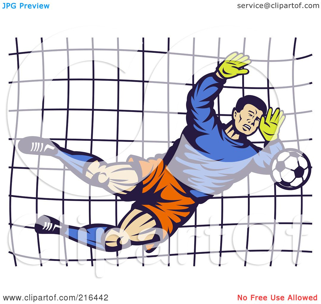 Royalty-Free (RF) Clipart Illustration of a Retro Soccer Goalie Blocking A Ball by ...