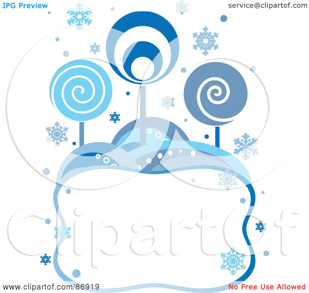Royalty Free RF Clipart Illustration Of A Retro Styled Background Blue Circle Trees And Snowflakes Over Blank Text Box By Pushkin