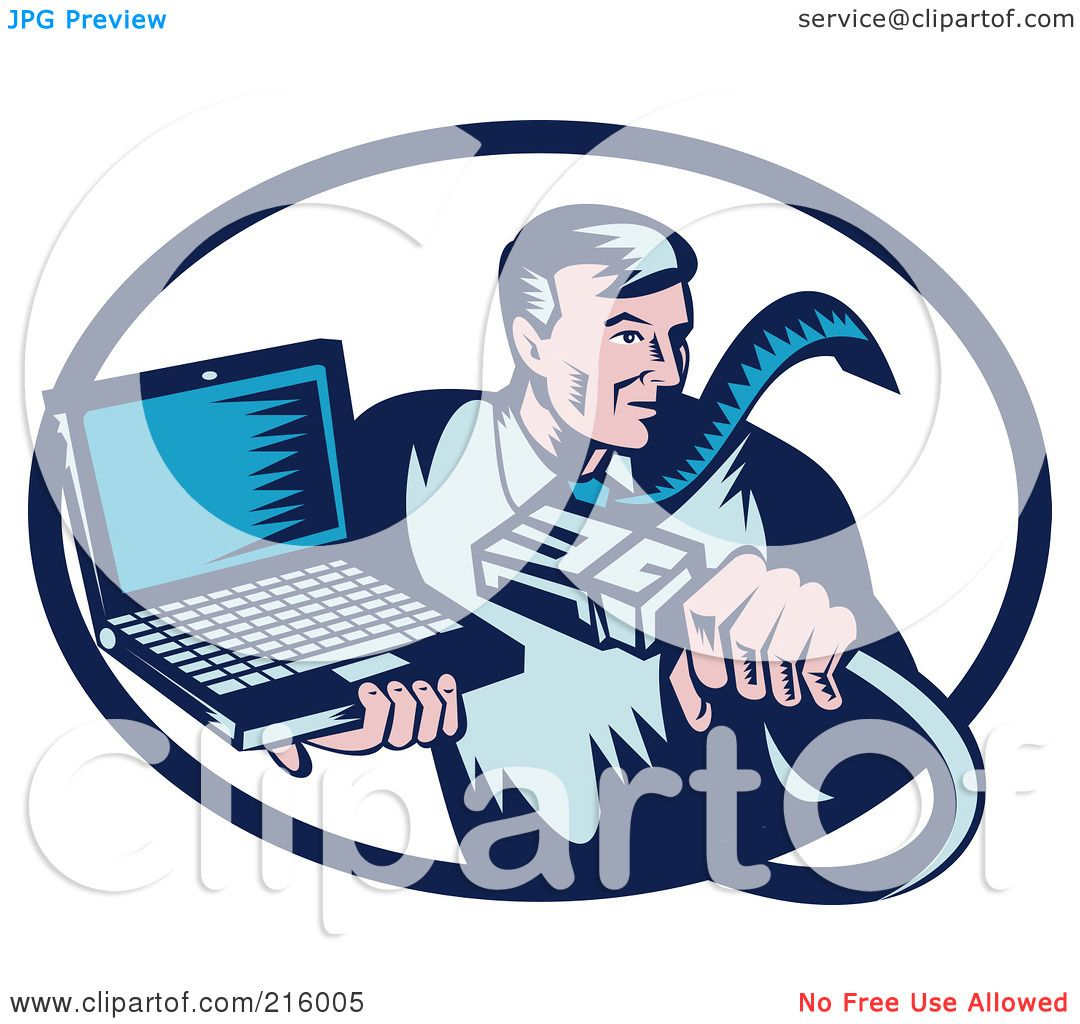 Royalty-Free (RF) Clipart Illustration of a Retro Styled ...Computer Repair Clip Art Black And White
