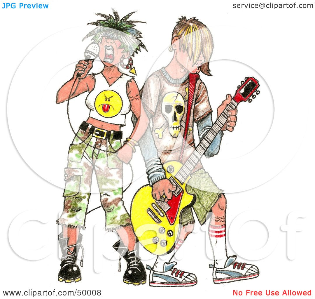 Royalty-Free (RF) Clipart Illustration of a Rocker Chick ...