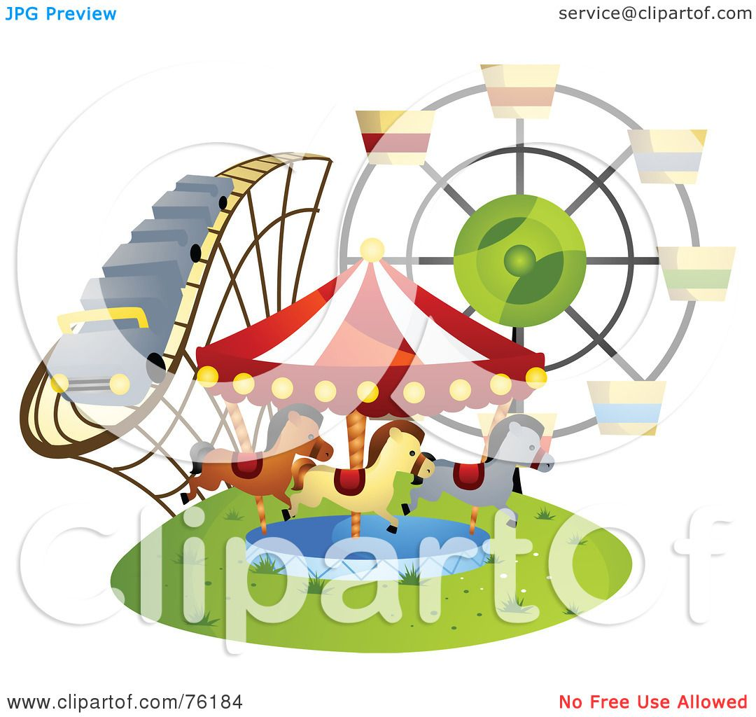 Free rf poodle clipart illustration 215241 by bnp design studio - Royalty Free Rf Clipart Illustration Of A Roller Coaster Carousel And Ferris Wheel At A County