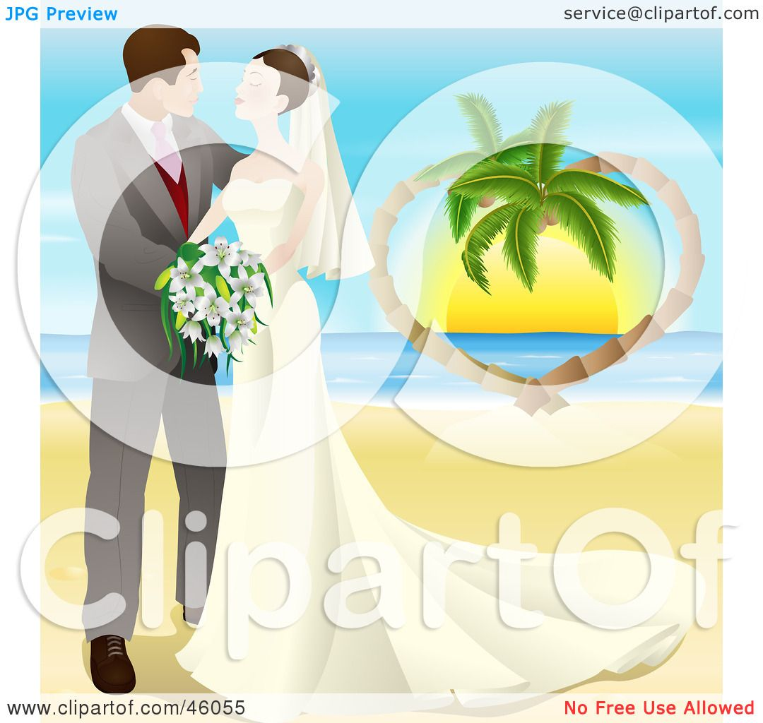 Happy Couple Sitting On Sandy Beach Embracing Kissing: Royalty-Free (RF) Clipart Illustration Of A Romantic