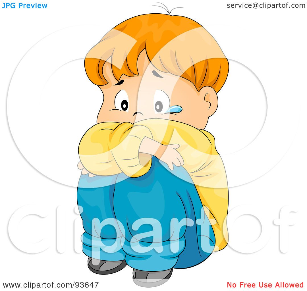 Royalty-Free (RF) Clipart Illustration of a Sad Boy Hugging His ...
