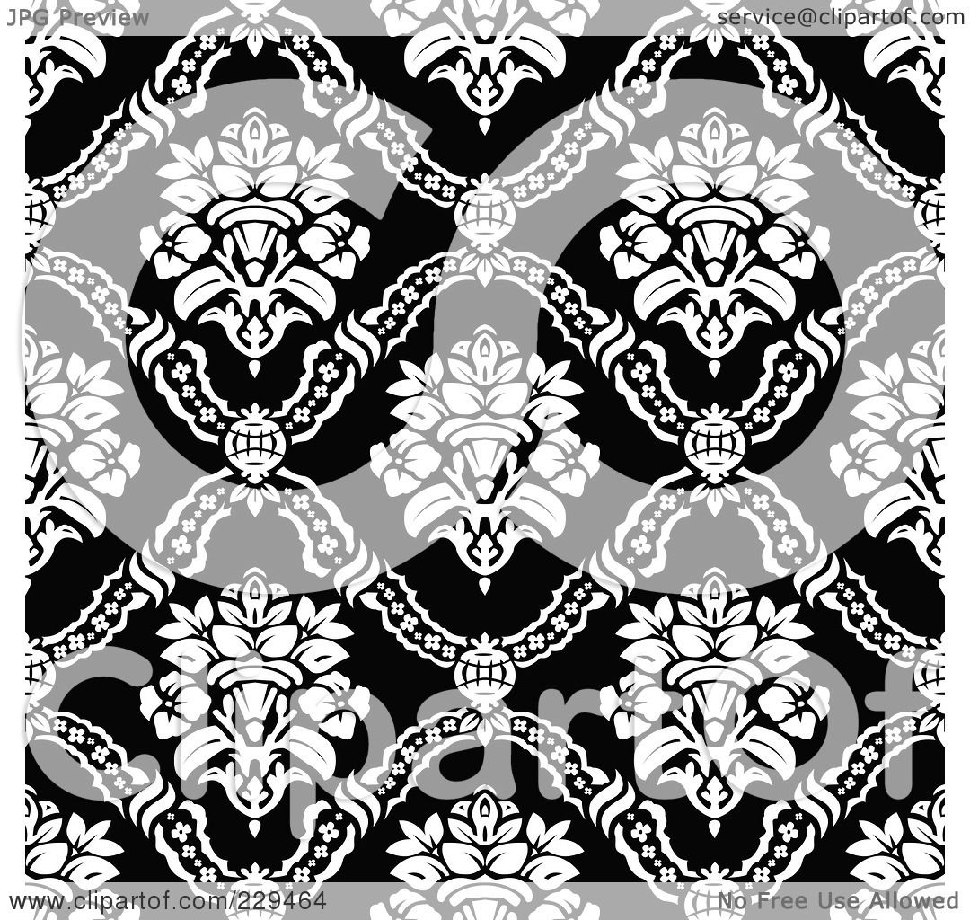 Black Flower On White Background Royalty Free Stock: Royalty-Free (RF) Clipart Illustration Of A Seamless