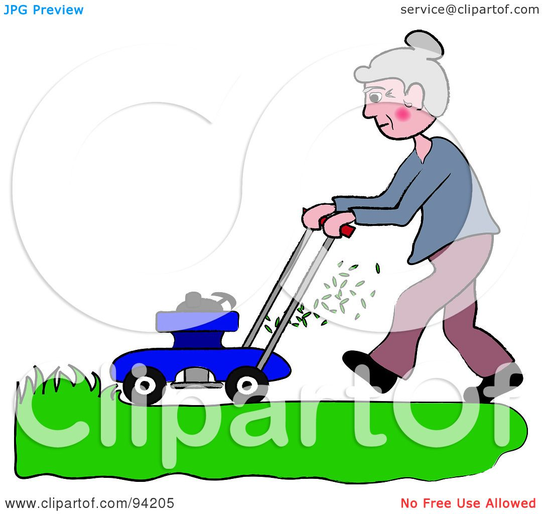 Royalty Free Rf Clipart Illustration Of A Senior Woman Mowing A Lawn With A Mower By Pams Clipart 94205