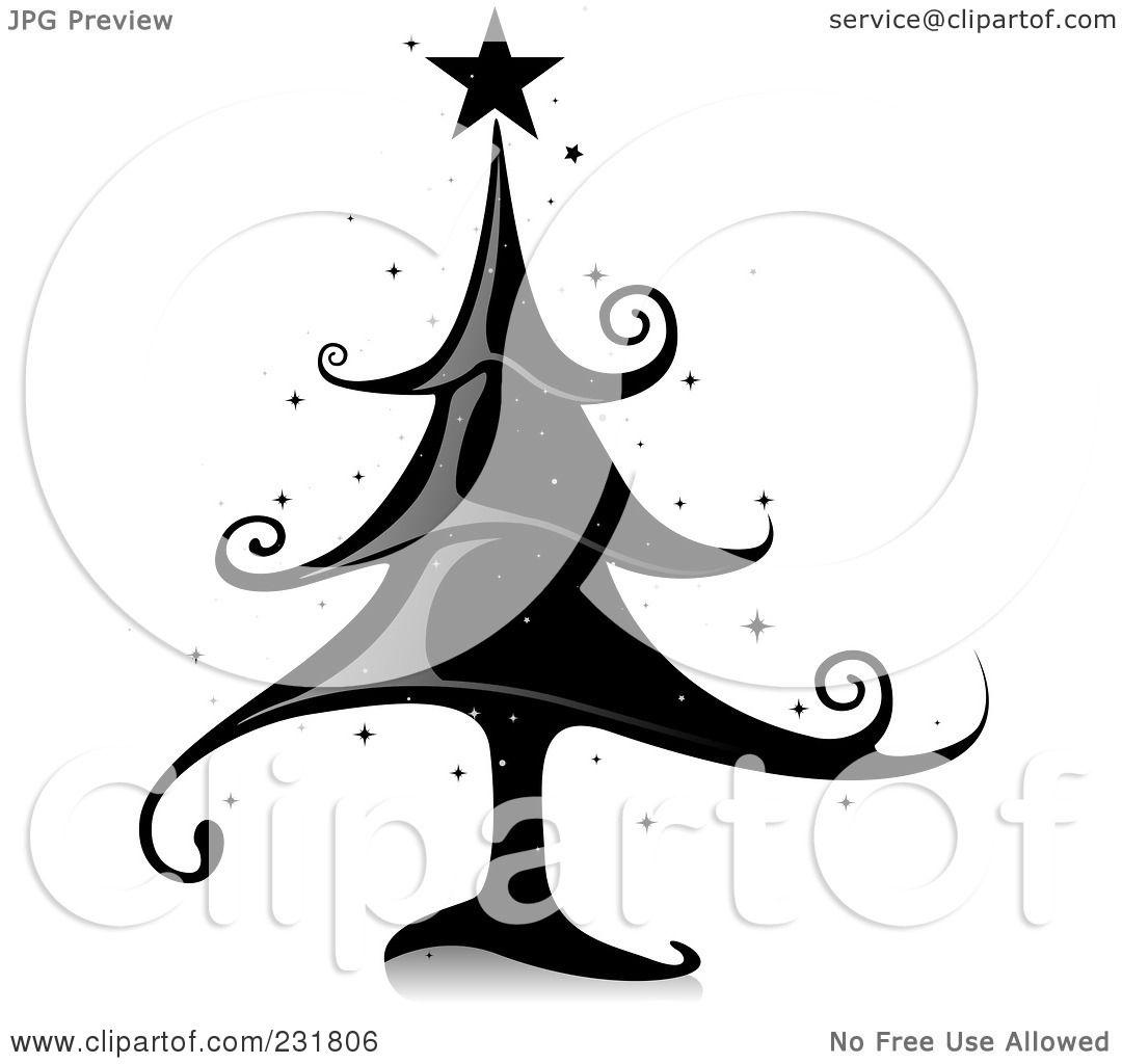 Royalty-Free (RF) Clipart Illustration of a Shiny Black Elegant Christmas Tree by BNP Design ...