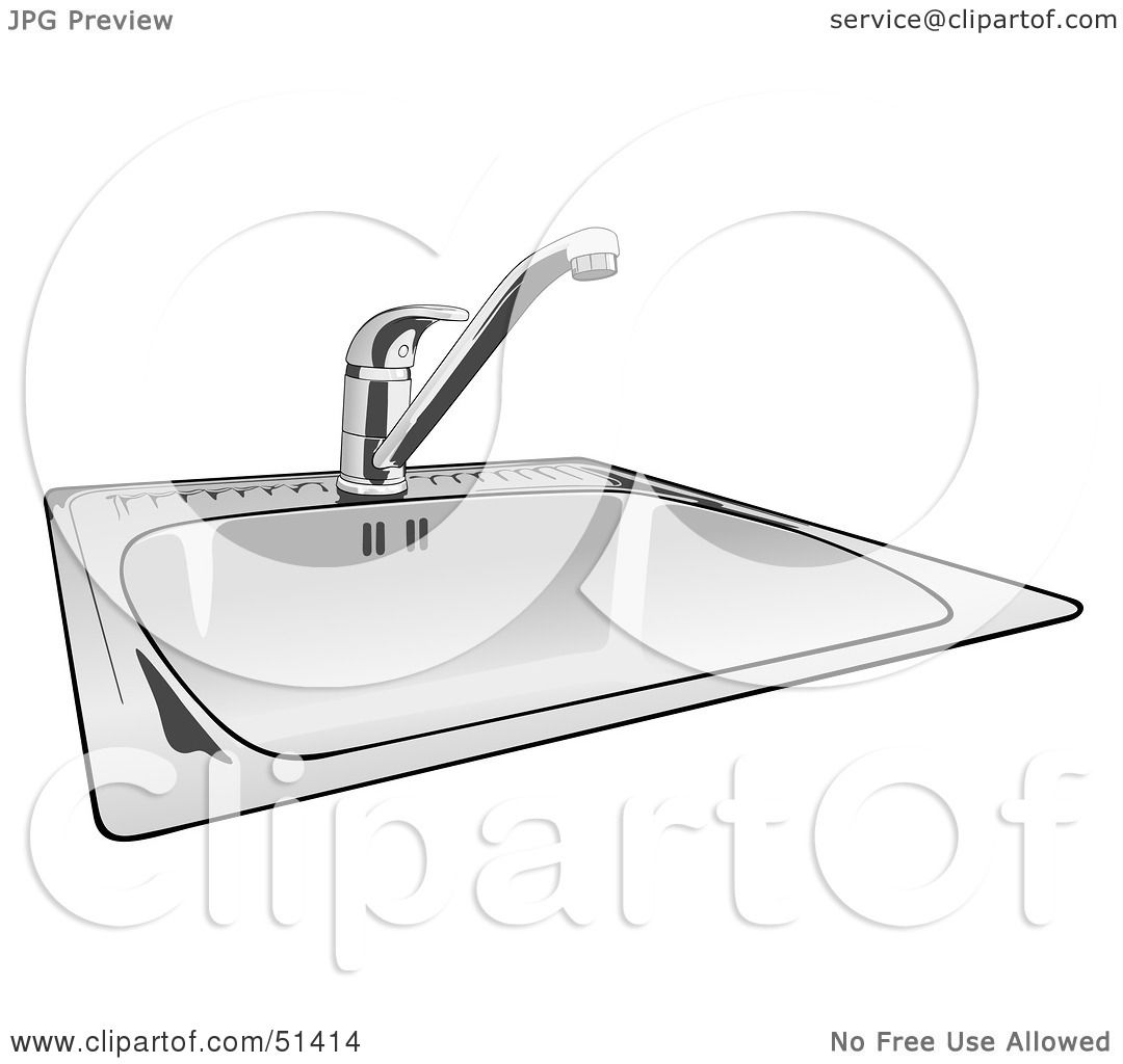 kitchen sink clipart black and white. royalty-free (rf) clipart illustration of a shiny new kitchen sink by dero black and white