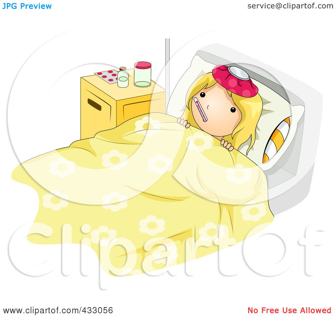 Royalty Free RF Clipart Illustration Of A Sick Girl