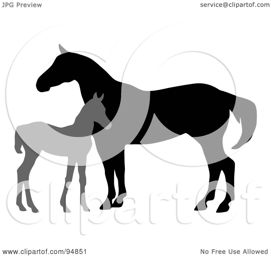 Royalty Free RF Clipart Illustration Of A Silhouetted Gray Foal By Mare C Charley Franzwa