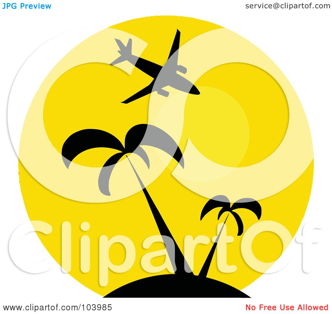 Cartoon Palm Tree And Sun Plane over palm trees and