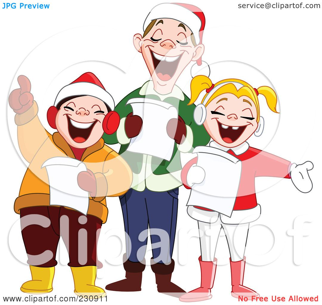 Royalty-Free (RF) Clipart Illustration of a Singing Family At ...