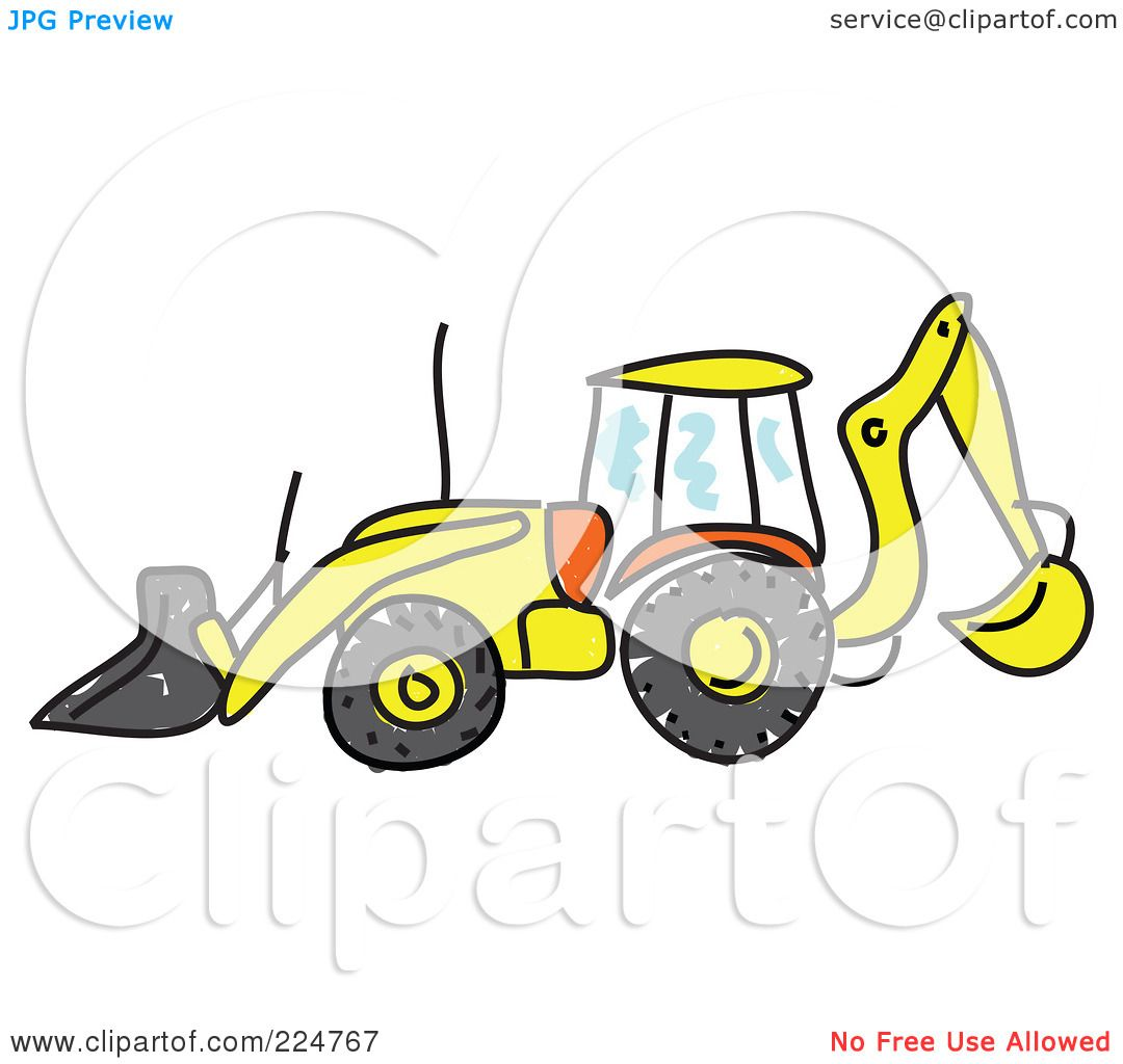 royalty free rf clipart illustration of a sketched bulldozer in profile by prawny 224767. Black Bedroom Furniture Sets. Home Design Ideas
