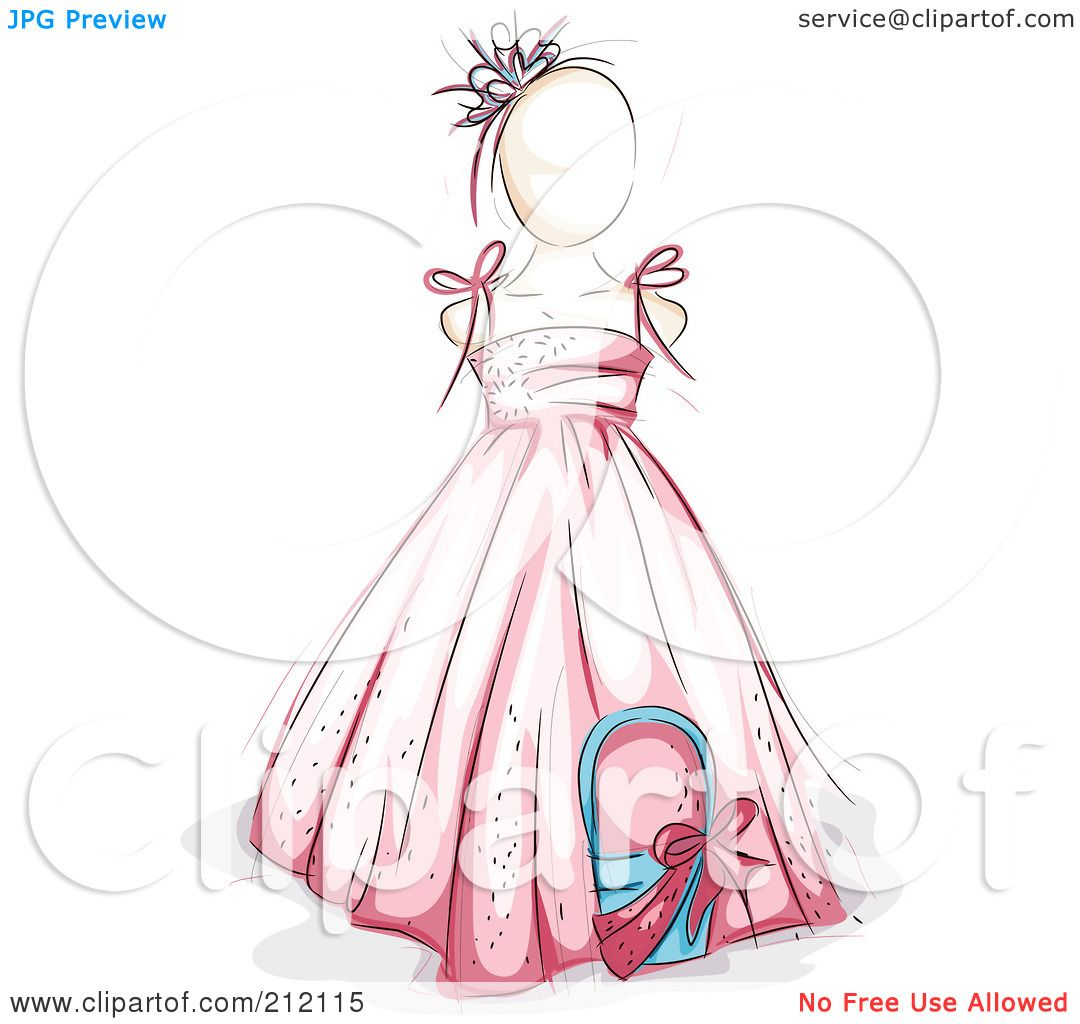 Thanksgiving Royalty Free Image >> Royalty-Free (RF) Clipart Illustration of a Sketched Flower Girl In A Pink Dress by BNP Design ...