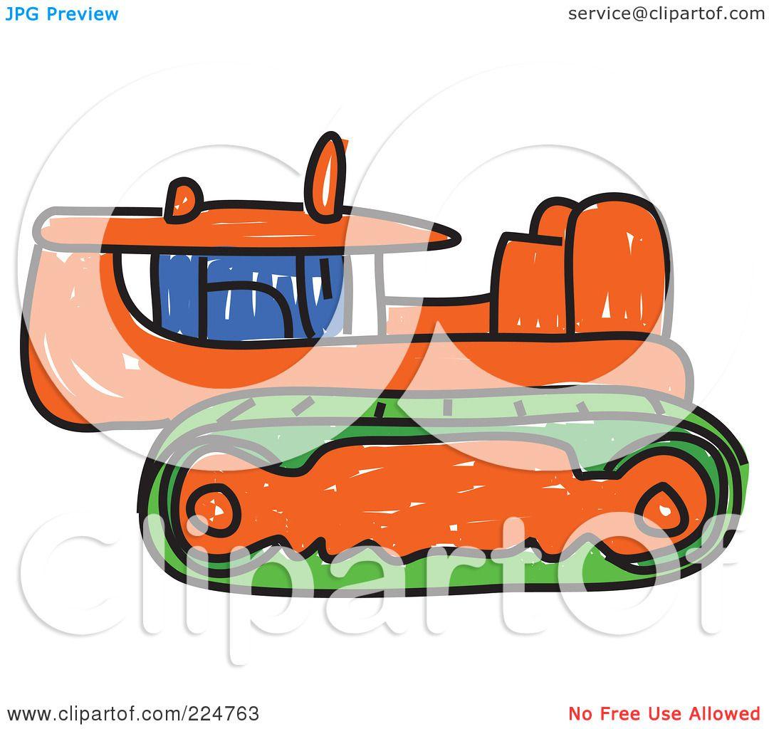 royalty free rf clipart illustration of a sketched orange caterpillar bulldozer by prawny 224763. Black Bedroom Furniture Sets. Home Design Ideas