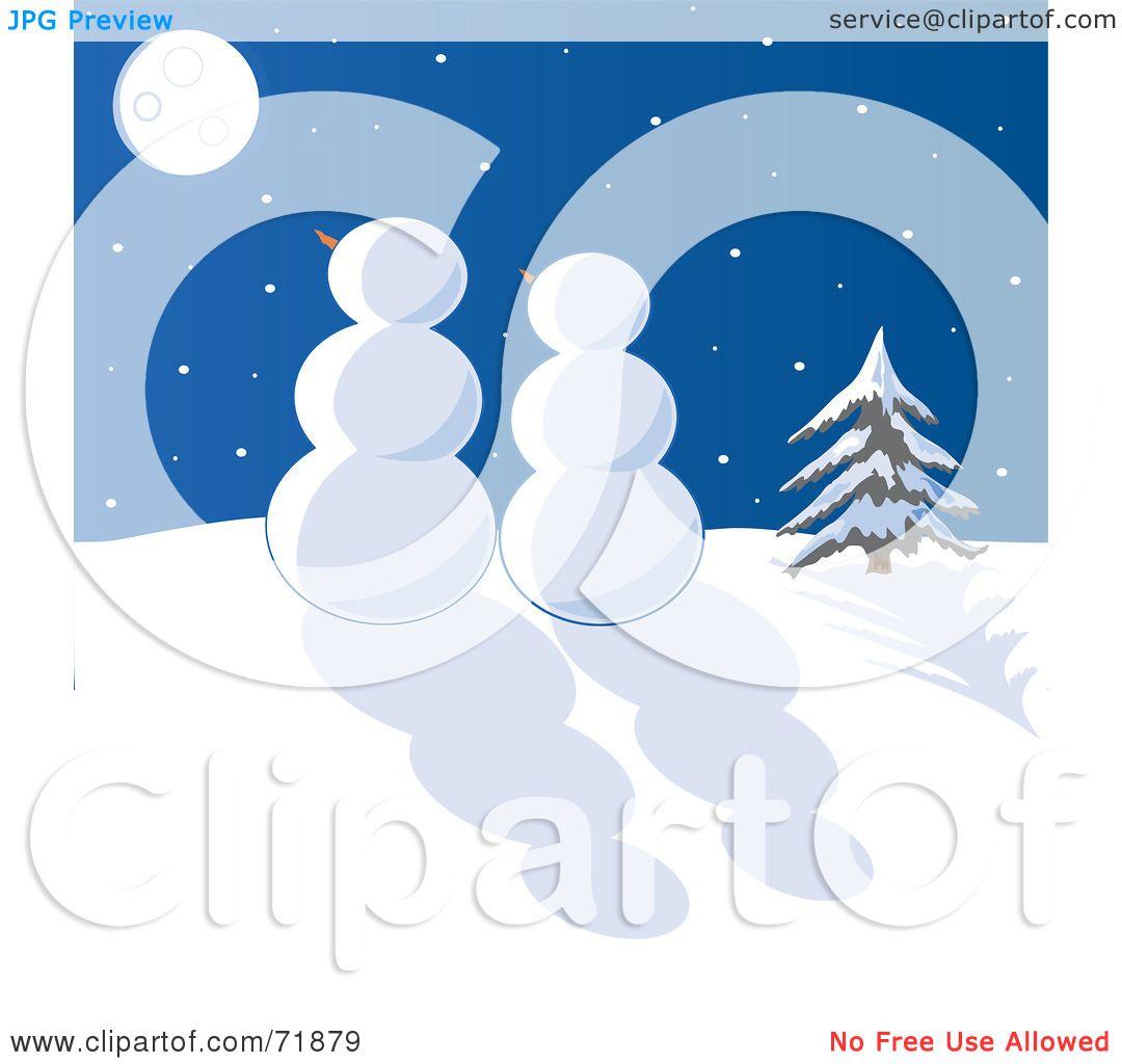 Snowman at Night Clip Art