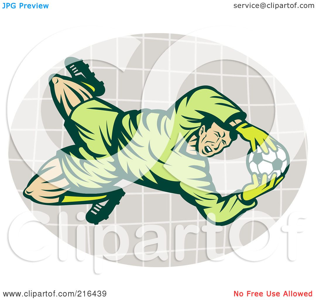 Royalty-Free (RF) Clipart Illustration of a Soccer Goalie Catching The Ball by ...