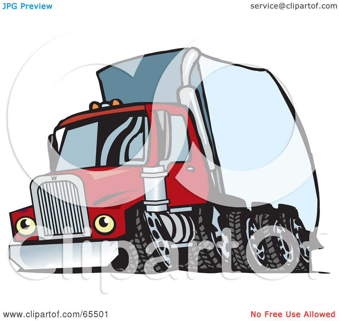 Anatomy Of A Semi Trailer : Royalty free rf clipart illustration of a speeding red