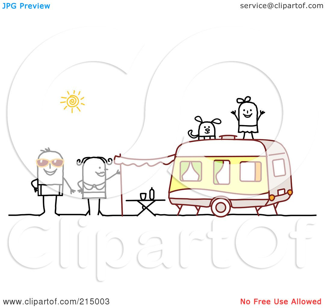 Royalty Free RF Clipart Illustration Of A Stick Family Camping With Camper By NL Shop