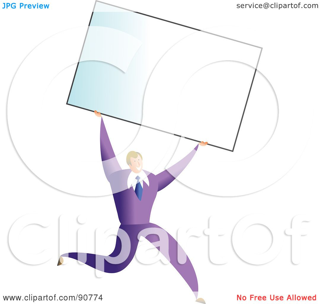 Royalty free rf clipart illustration of a successful businessman royalty free rf clipart illustration of a successful businessman carrying a blank business card over his head by prawny reheart Images