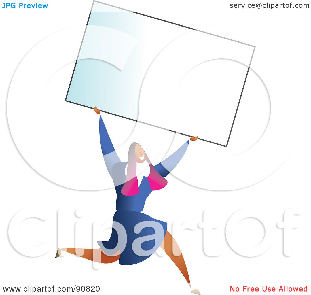 Royalty free rf clipart illustration of a successful businesswoman royalty free rf clipart illustration of a successful businesswoman carrying a blank business card over her head by prawny reheart Images